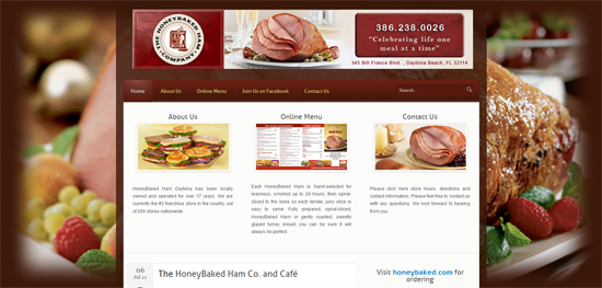 honeybaked ham website design ormond Beach