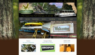 cracker creek canoeing website design ormond beach