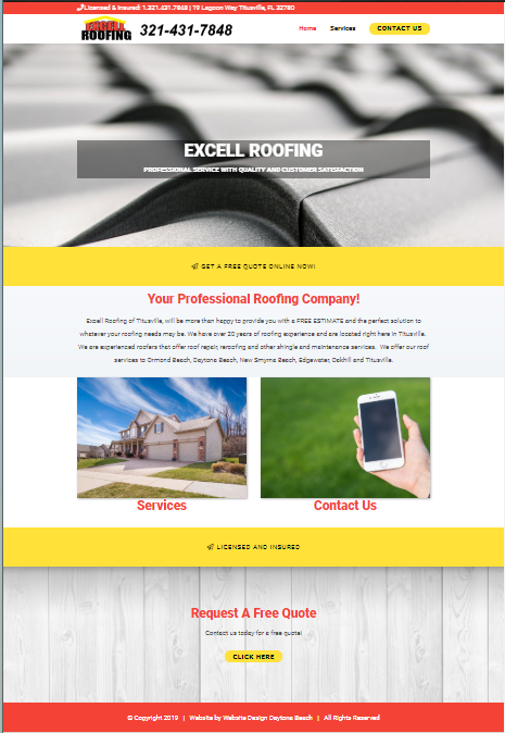 Excell Roofing Website Design Ormond Beach